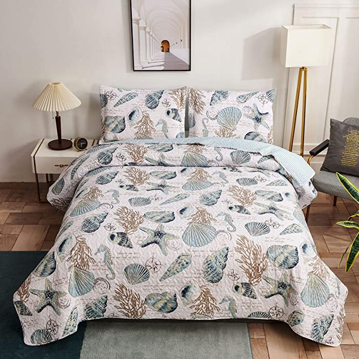 Oliven Coastal Reversible Quilt Set Full/Queen Beach Bedspreads Conch Shell Starfish Coral Seahorse Bed Cover Lightweight Soft Breathable Coverlet Blanket Seaside Cottage Decor-Blue White