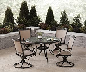 Hanover Fontana 5-Piece Dining Set with 4 Sling Swivel Rockers and a 48-in. Cast-Top Table, FNTDN5PCSWC Outdoor Furniture, Tan