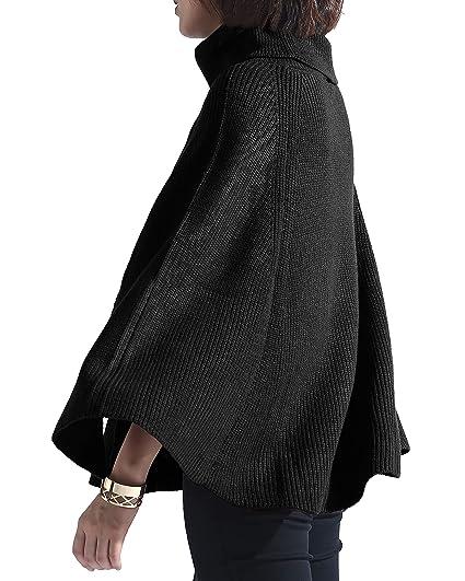 Spicy Sandia Women Turtleneck Poncho Sweater Cape Knit Pullover