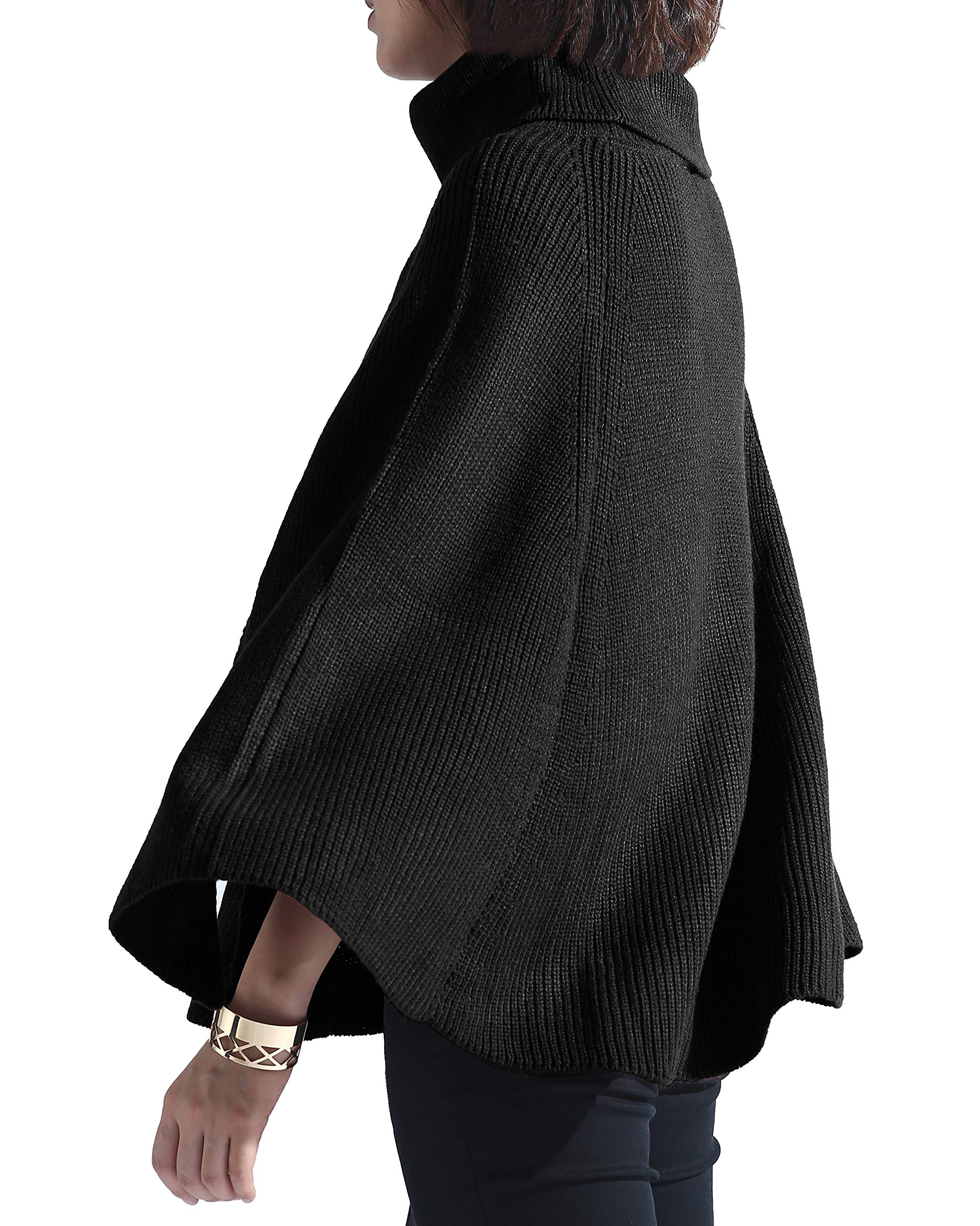 Spicy Sandia Women Turtleneck Poncho Sweater Cape Knit Pullover Black Sweaters