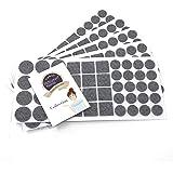 Adsamm® | 220 x felt pads | grey | different sizes | Ø 1.1'' (Ø 2,8 cm) | Ø 0.79'' (Ø 2 cm) | 0.98'' x 0.98'' (2,5x2,5 cm) | self-adhesive furniture glides with felt thickness of 0.138''/3.5 mm in top-quality by Adsamm®
