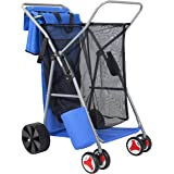 Best Choice Products Deluxe Folding Utility Beach Cart w/Removable Utility Bag, All-Terrain Rear Wheels - Blue/Gray