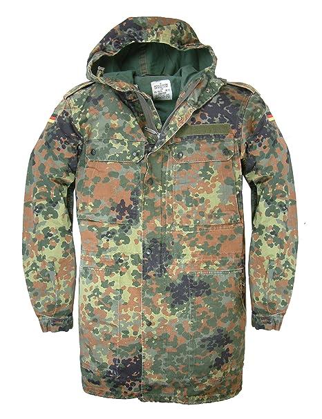 Chaqueta militar alemana original con estampado de camuflaje, con cremallera frontal y capucha