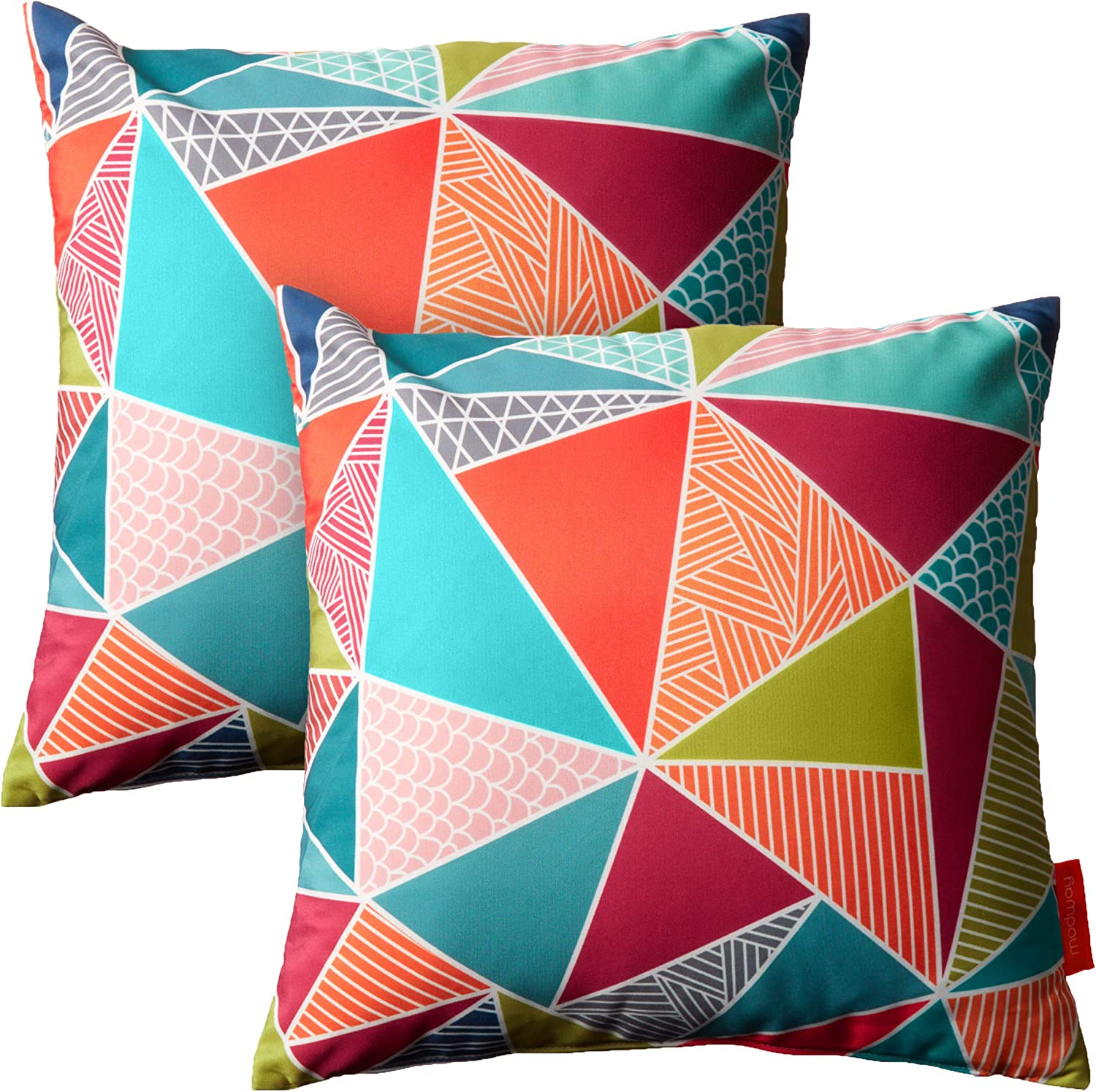 Modway Outdoor Indoor Two All Weather Patio Throw Pillows in Mosaic