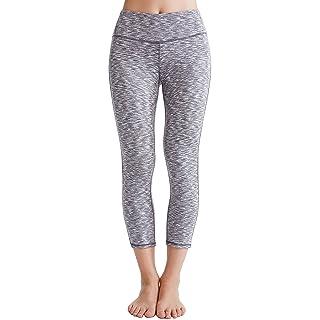 Oalka Women's Yoga Capris Running Pants Workout Leggings Camo Grey XL