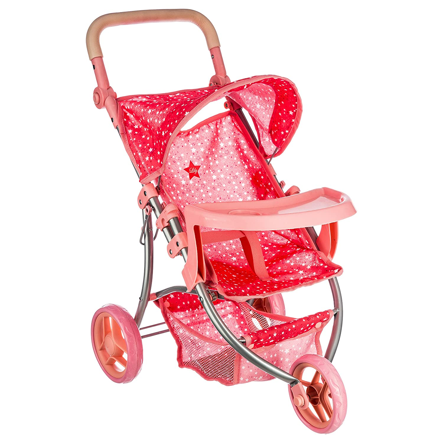 BETOYS/ 123207 Adjustable 3/ Wheeler Pushchair With Star Design/  Random Shades of Pink
