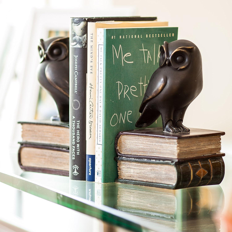 Danya B Bronze DS780 Decorative Rustic Bookshelf Decor Owl on Books Bookend Set