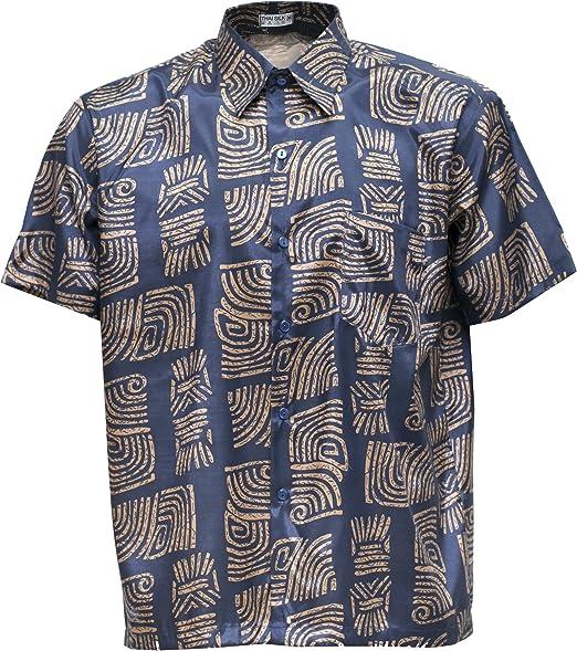 Camisa de manga corta de seda tailandesa para hombre con patrón de espiral dorada, dorado, XX-Large: Amazon.es: Hogar