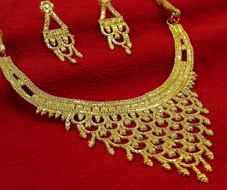 Banithani Traditionnel 18K plaqu/é Or Collier Boucles doreilles Femmes Bijoux de Mariage