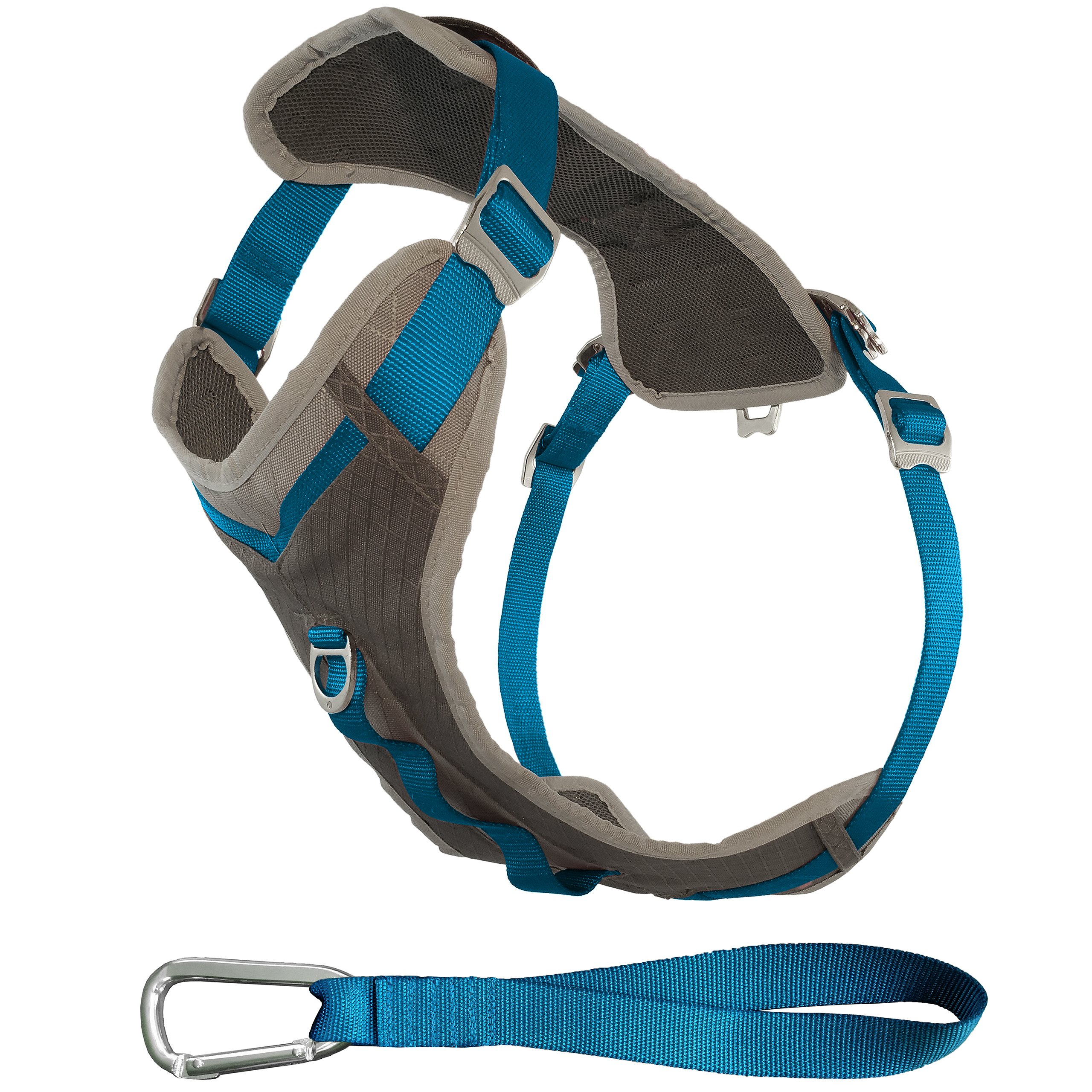 Kurgo Journey Multi-Use Dog Harness, Reflective Harness, Dog Running Harness, Dog Walking Harness, Dog Hiking Harness, Blue/Grey, X-Large