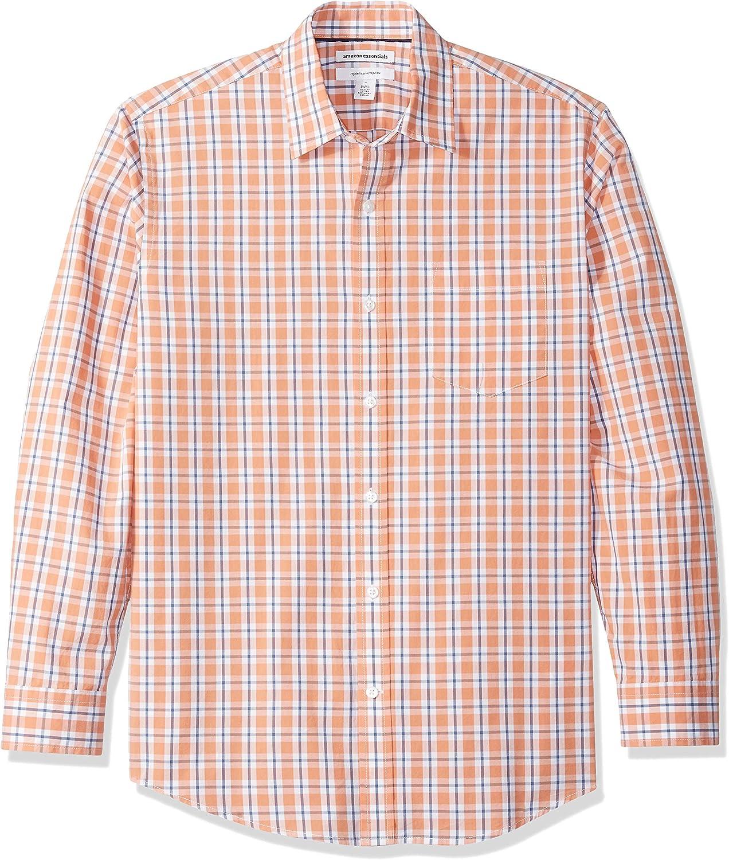 Essentials Men's Regular-Fit Long-Sleeve Plaid Casual Poplin Shirt: Clothing