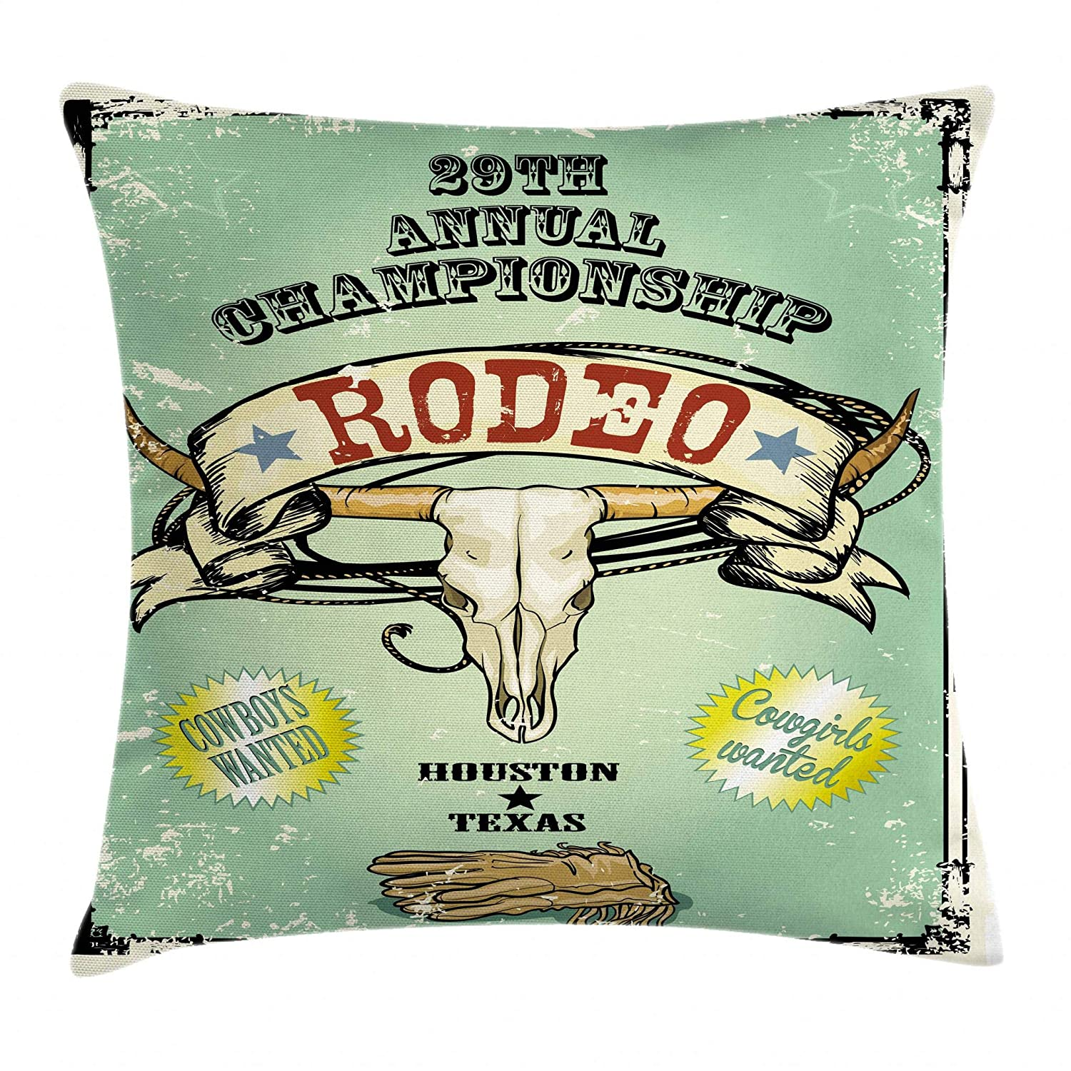 Retro Style Rodeo Championship Poster Bull Skull Large Horns with Banner Grungy 24 X 24 Inches Ambesonne Western Throw Pillow Cushion Cover Multicolor min/_37955/_24x24 Decorative Square Accent Pillow Case