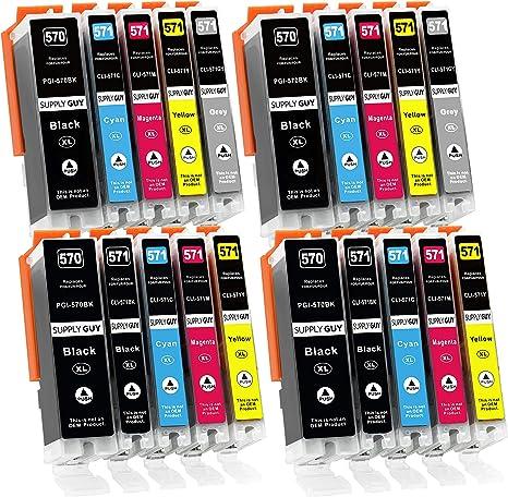 Imagen de20 Cartuchos de Tinta con viruta Compatible con Canon PGI-570 / CLI-571 para Pixma MG-7700 MG-7750 MG-7751 MG-7752 MG-7753 TS-8000 TS-8050 TS-8051 TS-8052 TS-8053 TS-9000 TS-9050 TS-9055