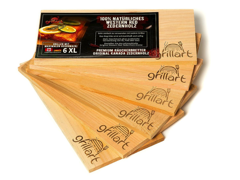 6 Pack XL barbacoa Tablas - Tabla de madera de cedro para asar - Incienso Tablas de madera de cedro de grillart® fabricado 100% Natural Western Red de ...