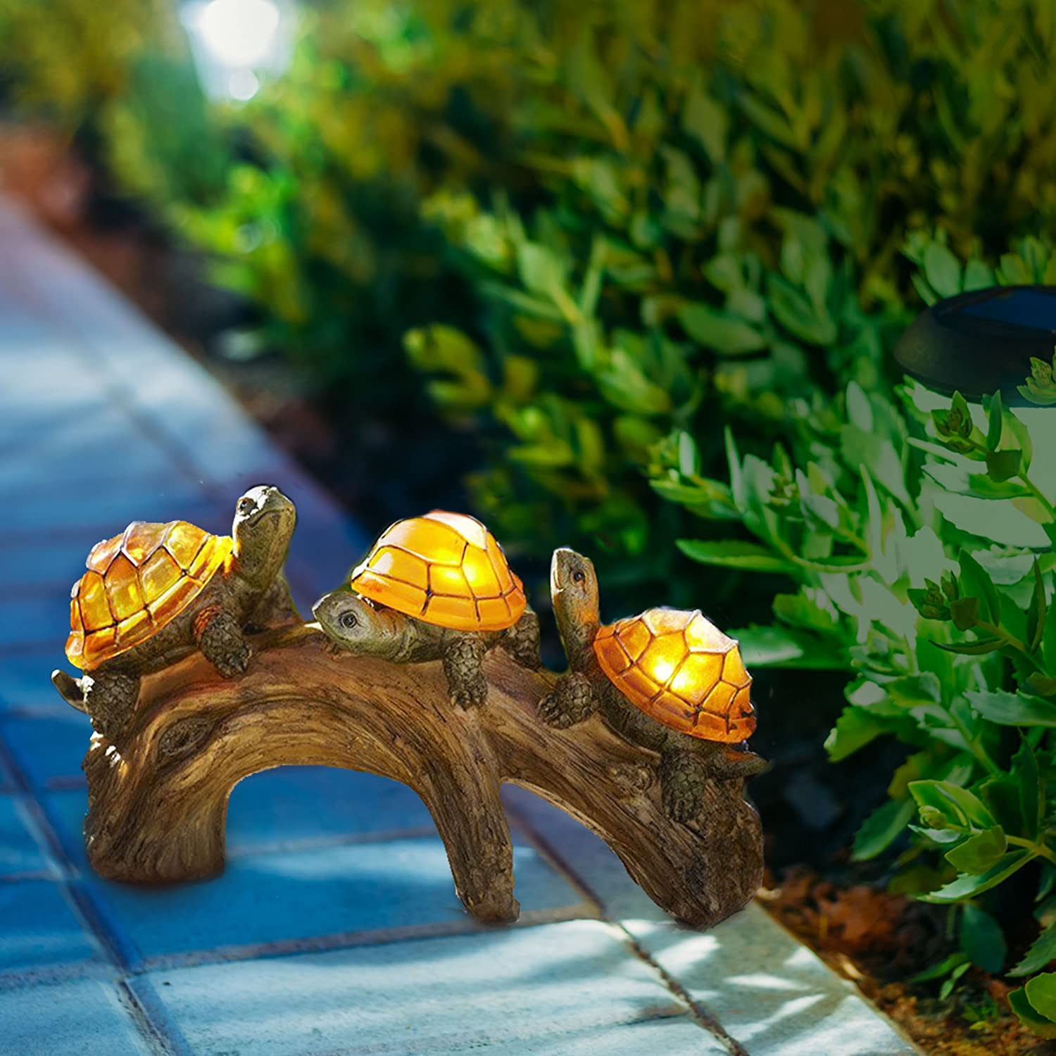 Solar Powered Turtles on Log Decoration- Ultra Durable Polyresin ...