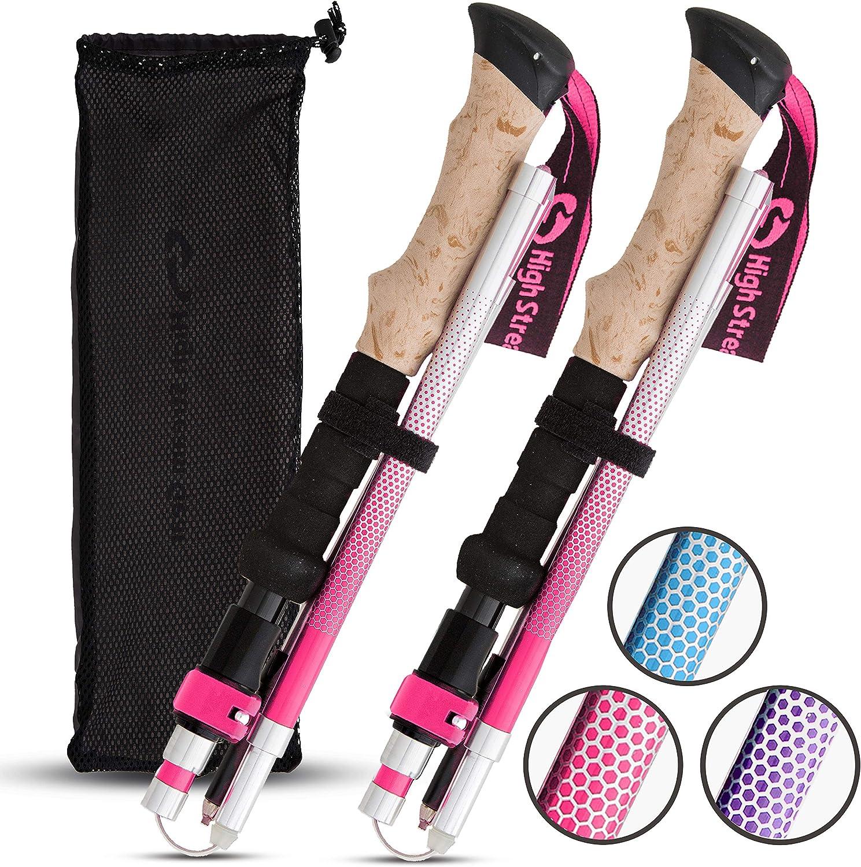 High Stream Gear Women's Walking Sticks, 2 Lightweight Foldable Hiking & Trekking Poles, Adjustable Quick Lock Collapsible Folding Poles