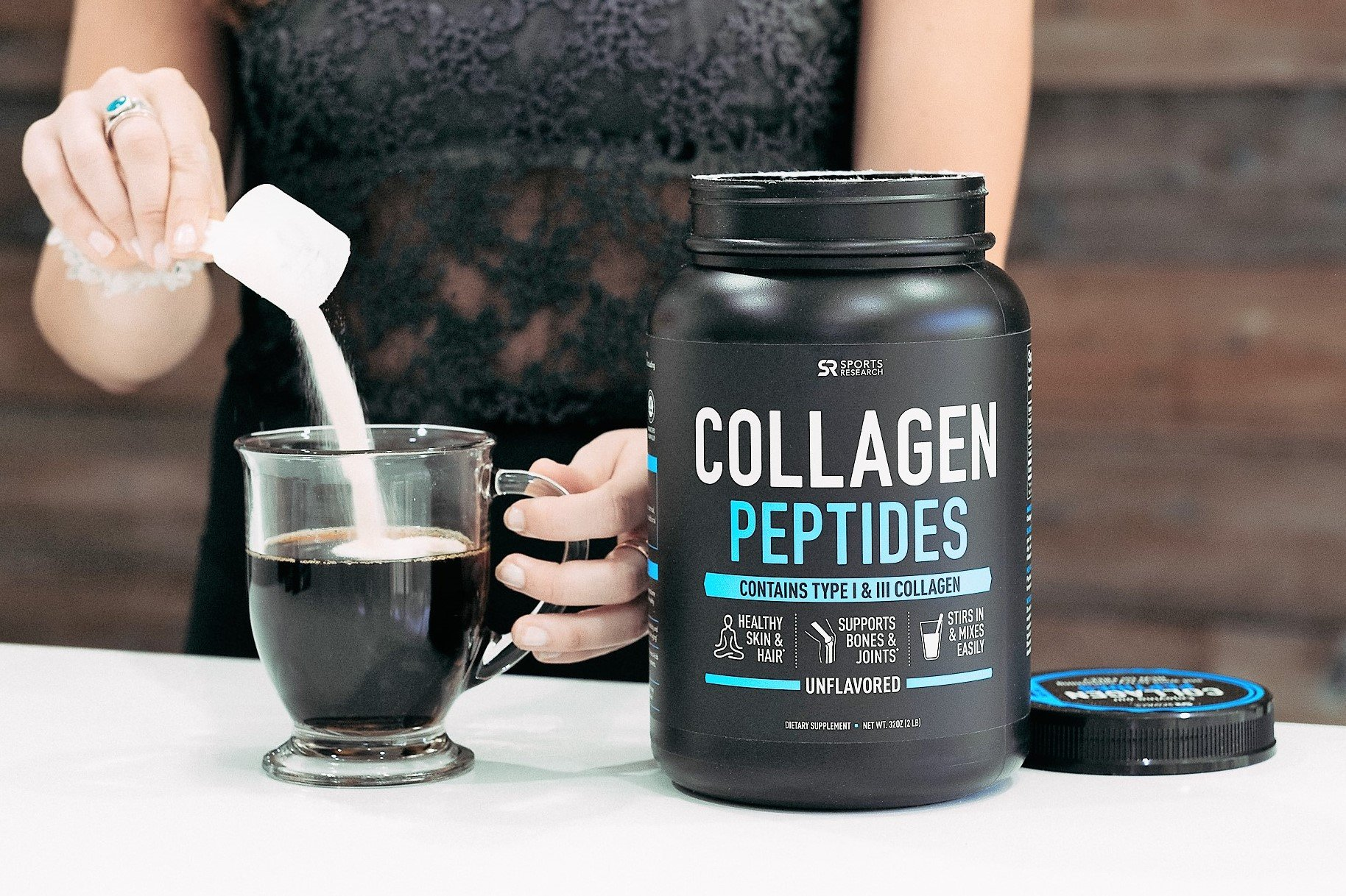 Collagen Peptides Powder 'XL' Jar 32oz | Grass-Fed, Certified Paleo Friendly, Non-GMO and Gluten Free - Unflavored by Sports Research (Image #2)