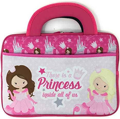 3f26b6c02de2d Pink Princess 10 inch Universal Portable Tablet Bag Tote Kids Neoprene  Carrying Case Boy Girl Zipper Sleeve Front Pocket Dual Handles fits to 10.5