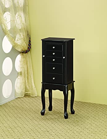 Coaster 900139 Jewelry Armoire With Flip Top Mirror, Black