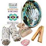 JL Local Perfect Unity Smudging Kit - 2 White Sage Smudge Sticks + 2 Palo Santo Sticks + Abalone Shell Bowl + Rose…