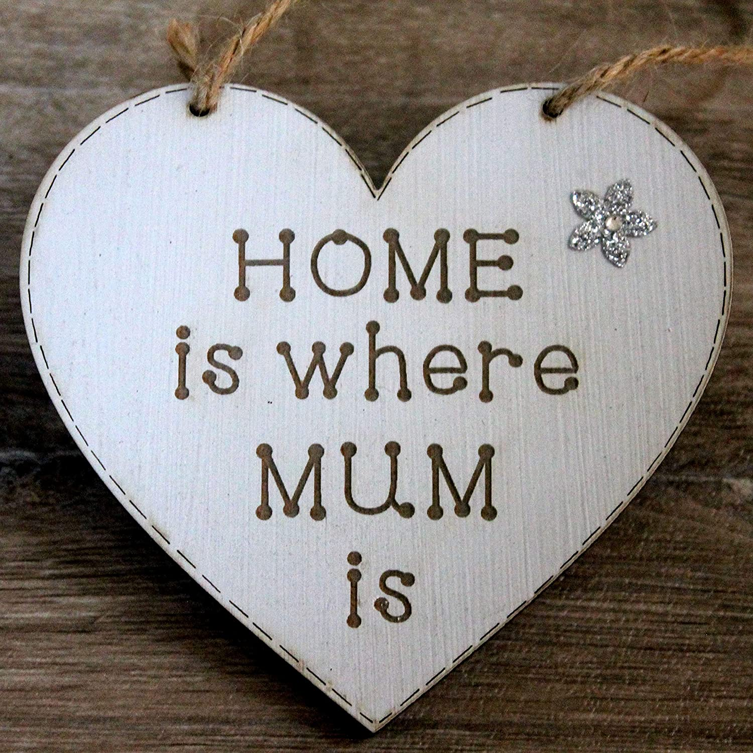 Home Is Where MUM Is Gift Heart Shape From Daughter and Son Light Grey