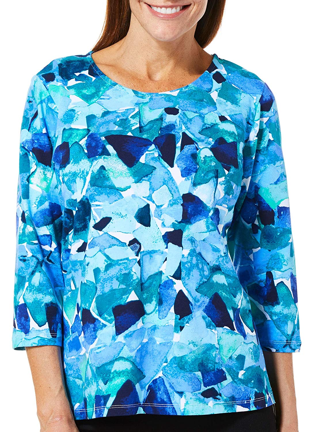 Alfred Dunner Petite Abstract Broken Glass Top P000530379