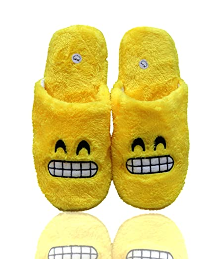 Emoji Ultra-Soft Women's Plush Slip-On Scuffs Slippers Cozy Non-Skid Slippers - Wink Halo Smiley Face Grimace Great For Gifts