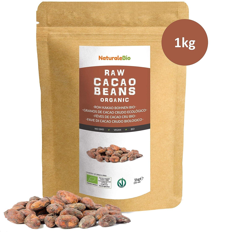 Granos de Cacao Crudo Ecológico 1Kg | 100 % Bio, Natural y Puro | Cultivado en Perú a partir de la planta Theobroma cacao | Superalimento rico en ...