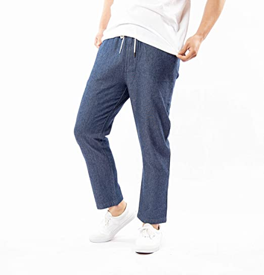 (ナイラス) NYLAUS デニムパンツ メンズ シャンブレー スリム 細身 テーパード スラウチシルエット 青 ブルー 紺 イージーパンツ シャンブレーパンツ ジーンズ テーパードパンツ カジュアル サーフ キレイ目 薄手 お洒落