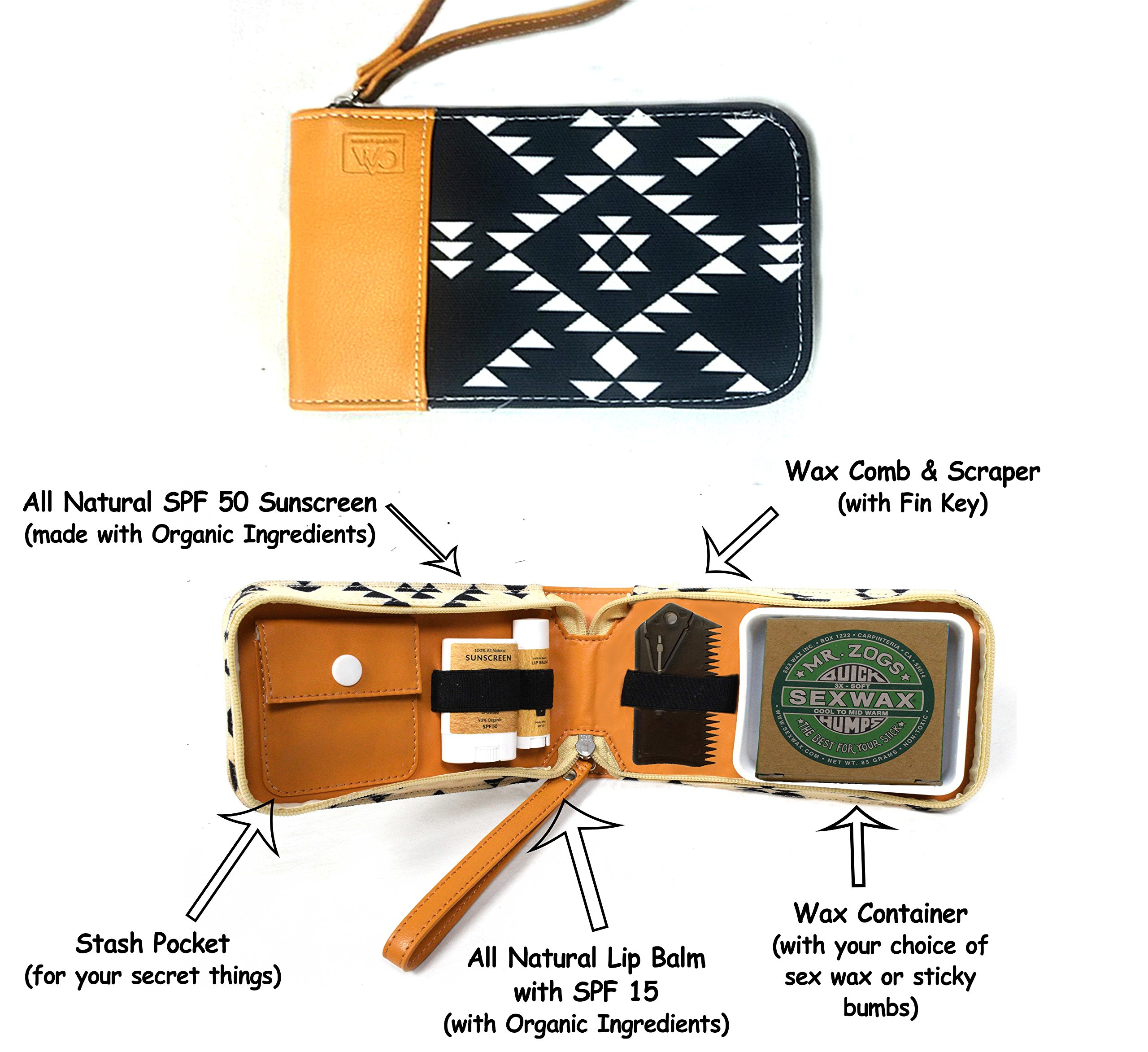 Surf Kit - A Great Surfer Gift & Surf Accessory that Holds your Sex Wax, Organic Sunscreen Face Stick, All Natural Lip Balm, Wax Scraper, and More! All in a Stylish Aztec Design Surf Wax Holder!