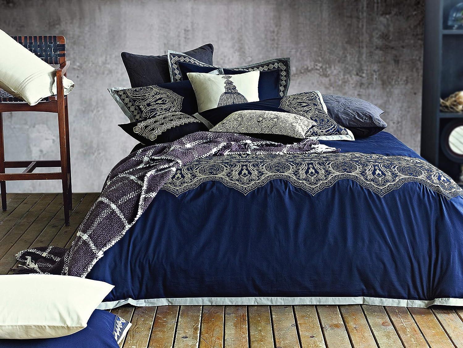 Melange Home Arabesque Embroidery Duvet Set, King, Navy
