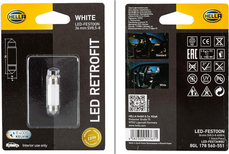 HELLA 8GL 178 560-551 Lámpara, LED, LED Retrofit, 12V, 1W, Tipo de portalámpara SV8.5-8, Embalaje Blister, Cantidad 1