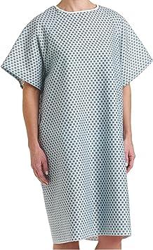 Men/'s Patient Gown 100/% Cotton Hospital Stay Surgery Pocket Snap Blue USA 1 Size