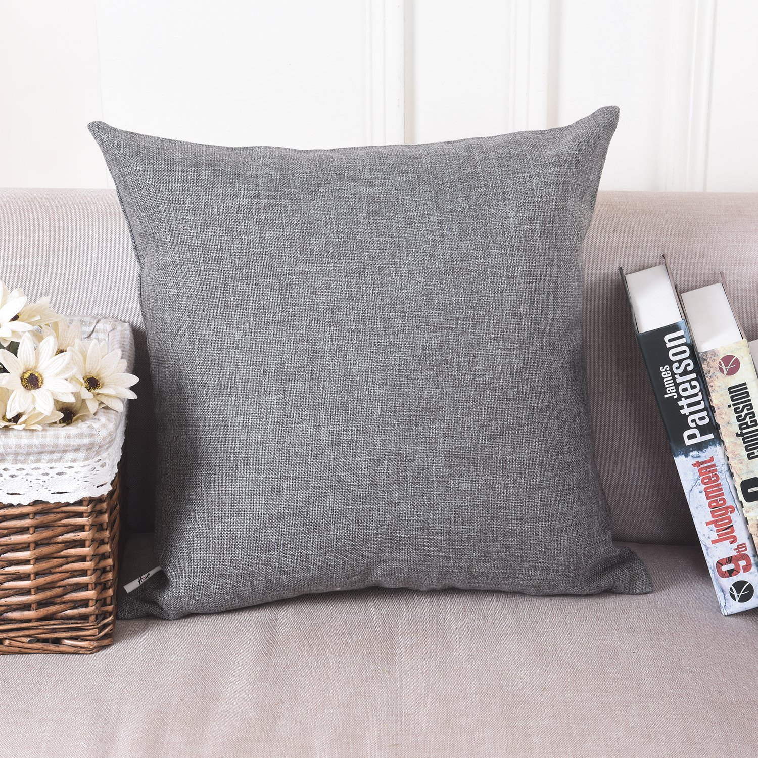 HOME BRILLIANT Soft Solid Linen Euro Sham Throw Pillow Cover for Couch, 24''x24'', Dark Grey