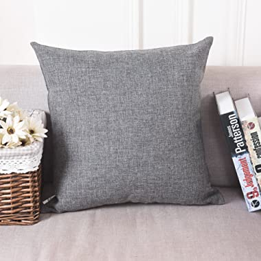 HOME BRILLIANT Halloween Decorative Pillow Case Soft Solid Linen Euro Sham Throw Pillow Cover for Couch, 24 x24 , Dark Grey