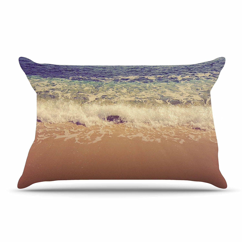 Kess InHouse Violet Hudson Crashing Waves Beach Coastal Standard Pillow Case 30 X 20 30 by 20-Inch
