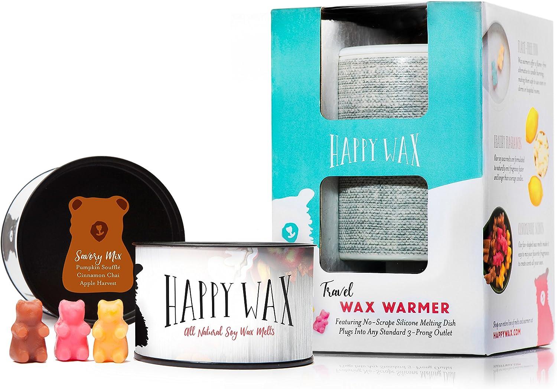 Happy Wax - Wax Warmer & Wax Melts Starter Kit - Enjoy Our Patent Pending Outlet Plug-in Wax Warmer in Gray Linen + 3.6 Oz. Savory Mix Soy Wax Melts [Apple Harvest, Pumpkin Souffle, Cinnamon Chai]