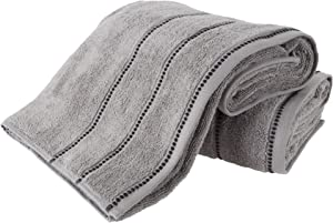 Luxury Cotton Towel Set- 2 Piece Bath Sheet Set Made From 100% Zero Twist Cotton- Quick Dry, Soft and Absorbent By Lavish Home (Silver / Black)