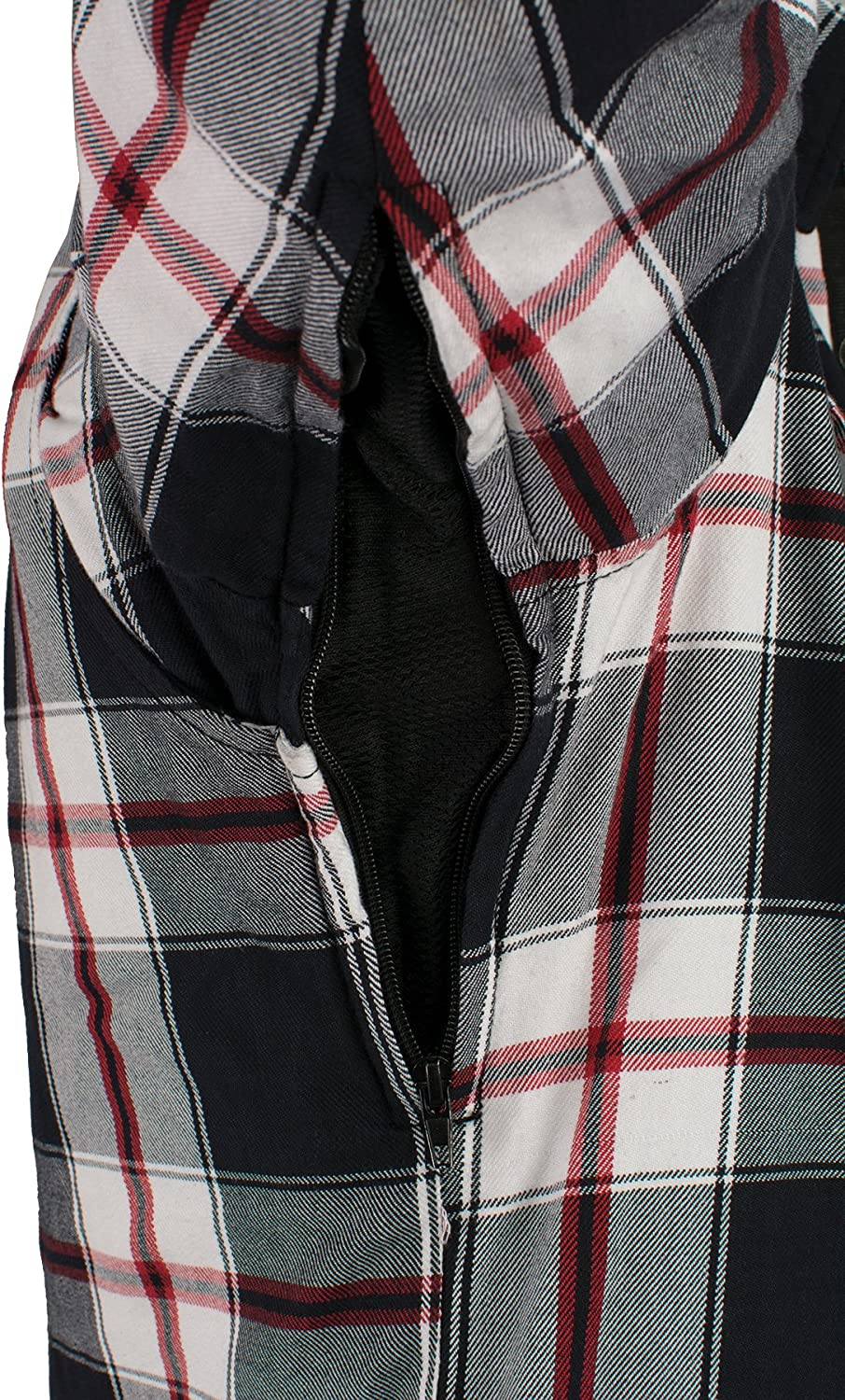 Milwaukee Performance-Mens Armored Flannel Biker Jacket w//Aramid by DuPont Fibers-BLK//WHT//RED-S