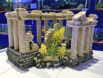 Aq Aquariumdeko Ruine Mit Kunststoffpflanze Griechische Saulen Amazon De Haustier