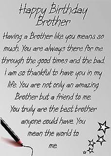 Brother Birthday Card Brother Happy Birthday Amazoncouk