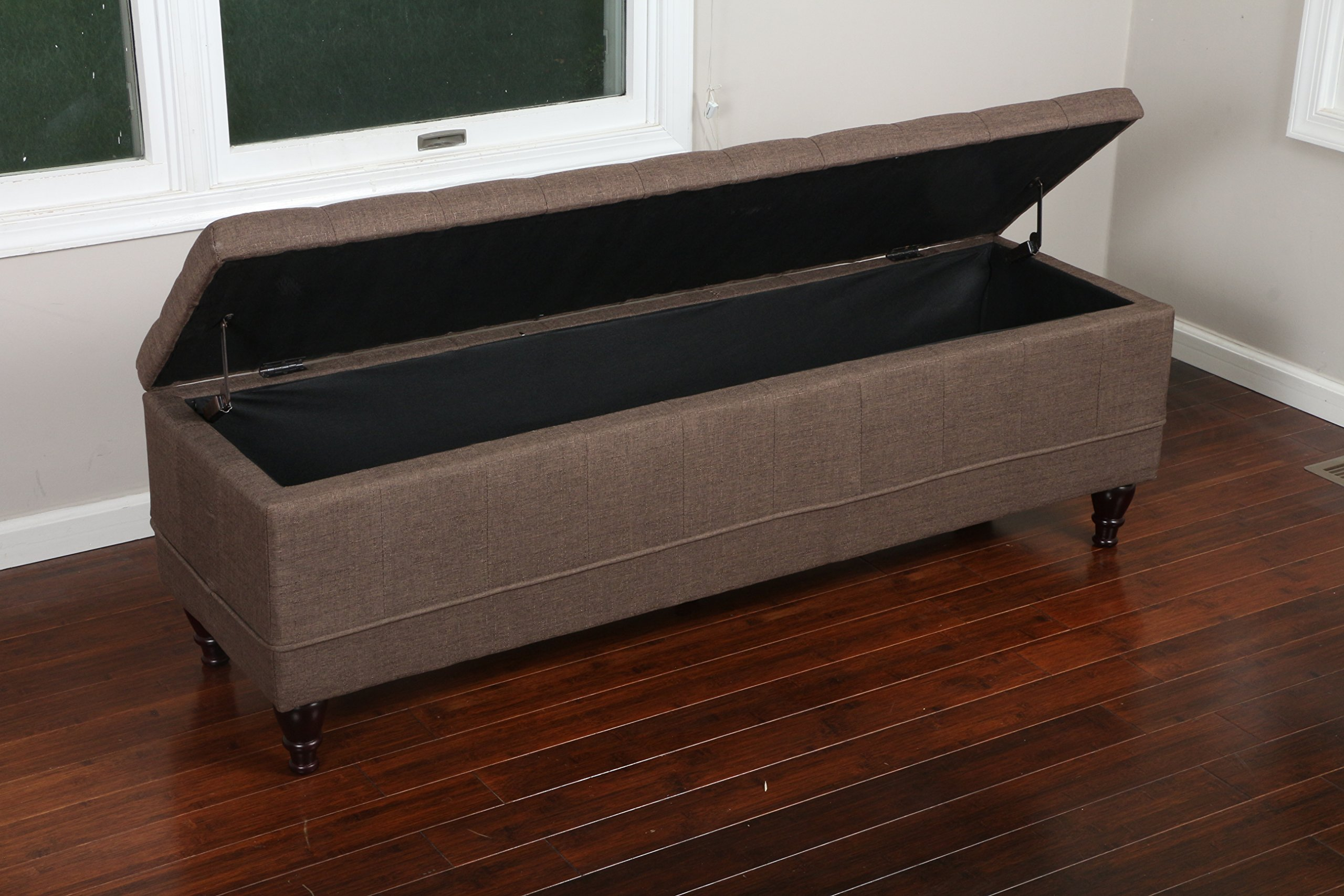 Home Life 59'' x 17'' Extra Long Front of Bed Storage Lift Top Bench Ottoman, Queen, Brown by LIFE Home (Image #2)