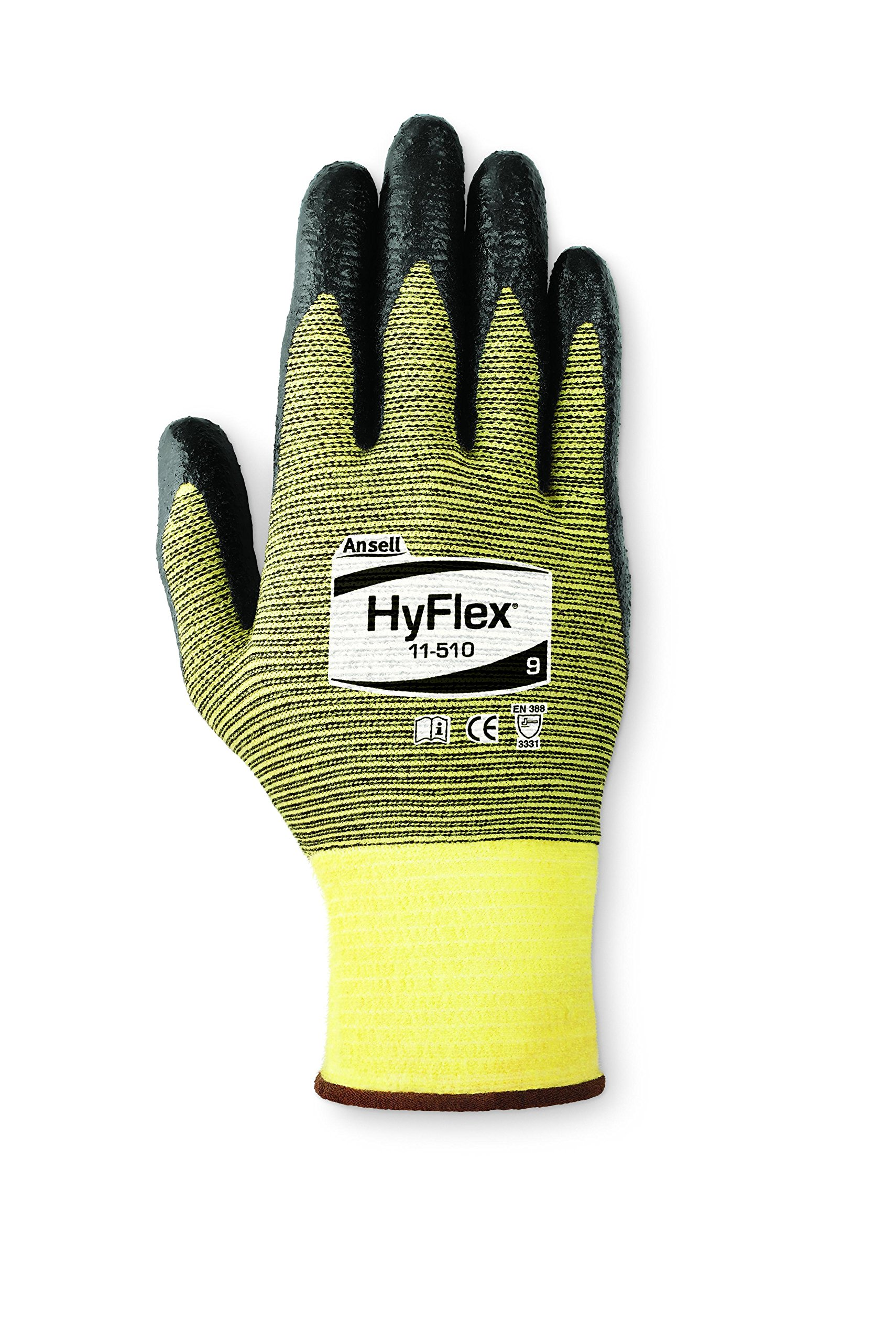 Ansell 115108 HyFlex 11-510 Foam Nitrile Palm Coated Yellow Kevlar Blended Protective Gloves, 10'' Length, 5'' Width, 0.46'' Height, Size 8, Black (Pack of 12) by Ansell (Image #1)