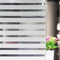 Anumit Stripes Frosted Window Film, Static Cling Window Tint Non-Adhesive Privacy Window Cling Vinyl Anti-UV Window Sticker for Home Office Meeting Rooms Glass Window Doors 45 x 200 cm