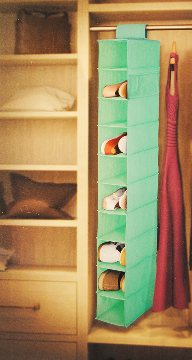 Mint Green 10 Shelf Hanging Shoe and Accessories Organizer Easy Home