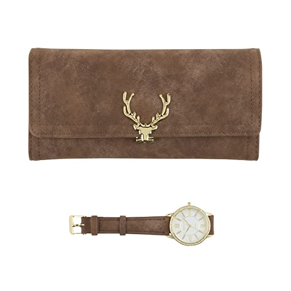 Reloj dorado para mujer con cristales brillantes en el bisel y cartera marrón a juego, juego de regalo: Amazon.es: Relojes