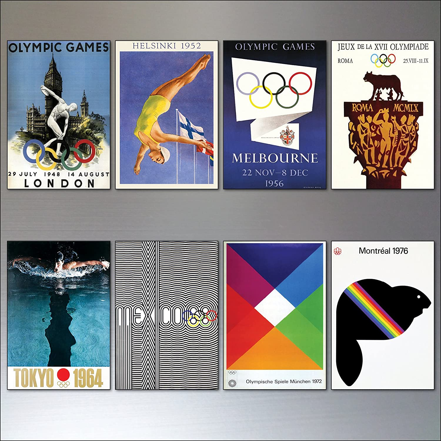 Olympic games posters vintage design fridge magnets 8 Olympic sports magnets