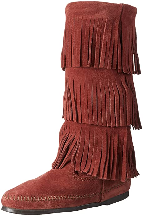 Minnetonka Womens Calf Hi 3-Layer Fringe Boot