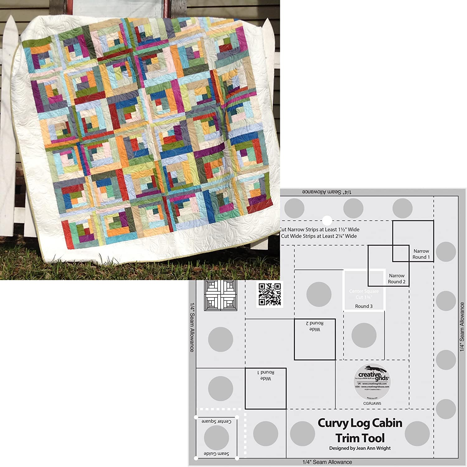 Amazon Com Bundle Of Creative Grids Curvy Log Cabin Trim Tool 8in Finished Blocks And Cut Loose Press Carousel Curvy Log Cabin Quilt Pattern