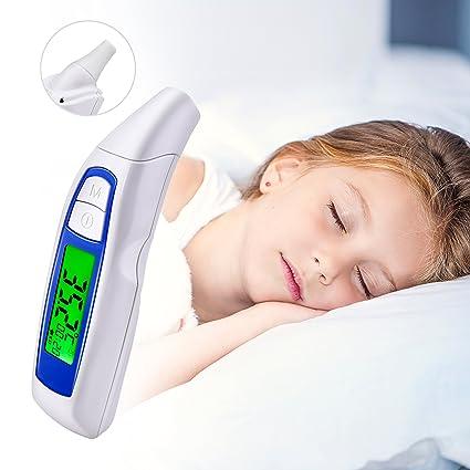 Termómetro digital de oído y frente para bebés adultos, 3 en 1 termómetro infrarrojo sin contacto con pantalla LCD retroiluminada, medición de 1 ...